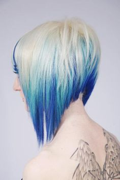 A-Line Bob/ Blonde and blue