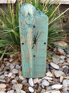 Painted driftwood clock