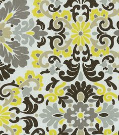 Home Decor Print Fabric- PKL Folk Damask Lemondrop