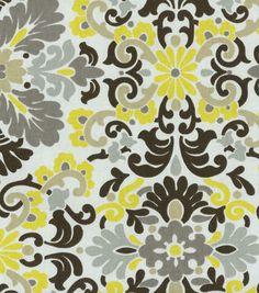 Home Decor Print Fabric- PKL Folk Damask Lemondrop