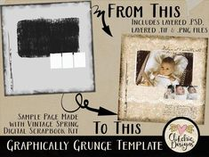 "Photo Template - Graphically Grunge 12x12"" Layered Digital Scrapbook Template - psd Template Digital Template Photography Template by ClikchicDesign Scrapbook Templates, Psd Templates, Photography Templates, Vintage Scrapbook, Paper Background, Digital Scrapbooking, Grunge, Layers, Prints"