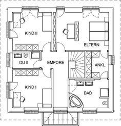 Stadtvilla Grundriss Obergeschoss mit 93,04 m² Wohnfläche
