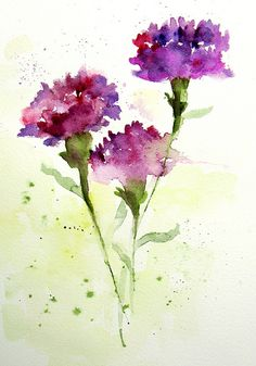 I love this watercolor painting of carnations! Watercolor Cards, Watercolor Flowers, Watercolor Paintings, Watercolors, Watercolor Artists, Watercolor Portraits, Watercolor Landscape, Landscape Art, Watercolor Tattoo