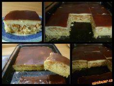 Jablečný koláč s pudinkem aneb obrácený jablečník 4-5 větších jablek,4 vejce,20 dkg cukru,20 dkg mouky polohr,skořice,1/2 prdopeče,1 dcl horké vody...na pudink 1/2 l mléka,2 PL cukru,1 vanil pudink,kakao-  Na plech dáme papír, nastrouháme jablka,posypme skořicí.Vyšleháme bílky zvlášť. Žloutky s cukrem, horkou vodu, mouku s prdopečem a sníh. Nalijeme na jablka, péct 20 min při 180,  převrátíme,z horkého  sejmeme papír, jablka hoře. Nalijeme horký puding posypeme grankem,dáme ztuhnout do…