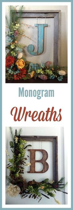 : Decorate your front door or a wall inside your home with this beautiful rustic floral monogram wreath. Built around a weathered 14 Wreath Crafts, Diy Wreath, Wreath Ideas, Door Wreaths, Monogram Wreath, Frame Wreath, Framed Monogram, Door Monogram, Home Crafts
