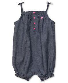 Carters Baby Romper, Baby Girls Chambray Romper - Kids Baby Girl (0-24 months) - Macys