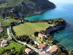 Clos Sainte Magdeleine vineyard in Cassis, France Liberty Of The Seas, Hidden Places, Triomphe, Holiday Accommodation, Provence France, Travel And Tourism, European Travel, Holiday Destinations, Aerial View