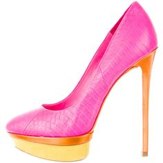 Pre-owned B Brian Atwood Round-Toe Platform Pumps ($110) ❤ liked on Polyvore featuring shoes, pumps, pink, pink leather pumps, round toe pumps, leather shoes, metallic leather pumps and metallic pumps