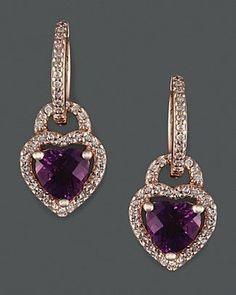 Diamond And Amethyst Earrings In 14K Rose Gold.... LetsBuyJewelry.com #GoldJewelryearringsjewels
