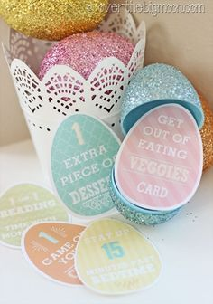"Easter Egg Privilege Cards and Easter Printable Blog Hop!  Replace a sporadic candy in an egg with a privilege card.  What kid wouldn't love getting a card that says ""Get out of eating veggies"" or ""1 extra piece of dessert"" or ""Stay up 15 mins late!""  #overthebigmoon #easter"