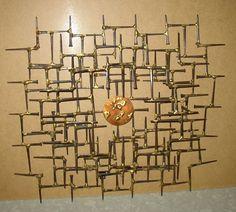 """Vtg Mid Century Modern Brutalist Wall Sculpture Art 23""""x20"""" jere weinstein era"""