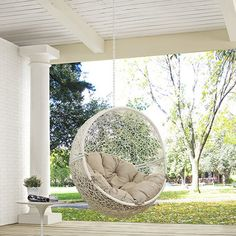 Lowest price online on Modway Furniture Hide Outdoor Patio Swing Chair Without Stand in White Beige - Egg Swing Chair, Hanging Swing Chair, Hammock Swing Chair, Swinging Chair, Swing Chairs, Hanging Chairs, High Chairs, Hanging Furniture, Cane Furniture