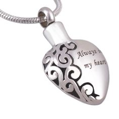 """Always in My Heart"" Memorial Cremation Jewelry Ashes Urn Pendant Necklace."
