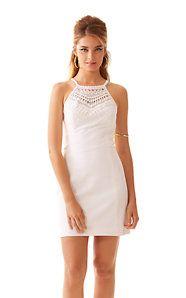 Pearl Lace Neck Shift Dress