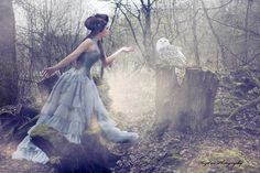 Owls and pretty dresses. Oh yes. In the woods.