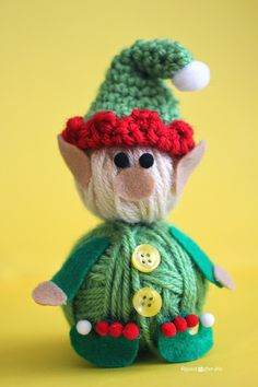 Yarn Ball Elf with crochet elf hat!