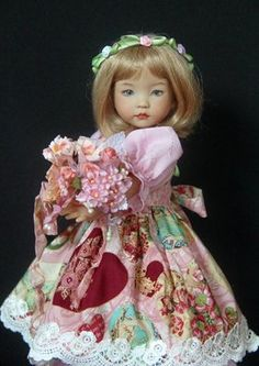 """Blooming Hearts OOAK for Effner 13"""" Little Darling.  The Dress ~ Made of the eyelet, it has a jewel neckline, elbow length puffed sleeves with narrow encased elastic at the hems, and a full skirt. The bodice is lined with batiste. by Glorias Garden $77 