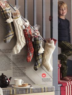 Christmas stockings #plaid #cable knit