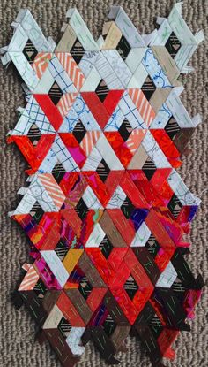 English Paper Piecing...this just might get me to try it.  http://bluemothdoings.blogspot.com/2015/01/diamond-epp.html?showComment=1421761849262