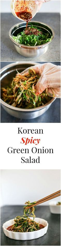 Korean Spicy Green Onion Salad, Food And Drinks, Korean Spicy Green Onion Salad. This salad is the most well-known Korean BBQ salad. It pairs very well with non-marinated meat (e. Korean Bbq, Korean Food, Korean Street, Korean Tacos, Chinese Food, Vegetarian Recipes, Cooking Recipes, Healthy Recipes, Lunch Recipes