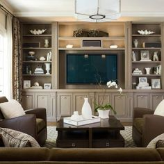 Family Room Design. Built-Ins painted a dark version of wall color with wall behind shelves an even darker version. White accessories stand out against dark gray.