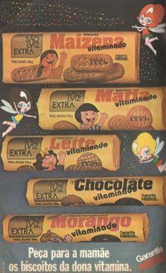 Biscoitos São Luiz (1980). Peça para a mamãe os biscoitos da dona vitamina. Maizena, Maria, Leite, Chocolate e Morango (vitaminado!)