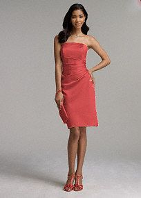 This figure flattering dress is sure to be a favorite for bridesmaids of all shapes and sizes! Simply chic short satin dress features side drape detail and definite wear-again appeal. Available in a variety of colors to suit any bridal party or special event. Fully lined. Back zip. Imported Polyester. Dry clean or hand wash.  To protect your dress, our Non Woven Garment Bag is a must have! Select colors are on sale. Please click color and size to view pricing