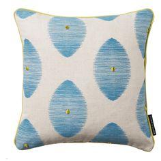 Kindu Leaf Aqua Square Cushion