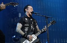 Michael Poulsen of Volbeat performed at US Bank Stadium on Saturday night.