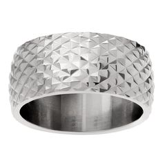Journee Collection Stainless Steel Wide Textured Band (Size- ) Women's