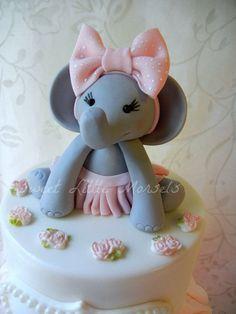 Baby Girl Elephant Cake Topper. by SweetLittleMorsels on Etsy, $30.00