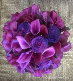 Purple, Violet, and Burgundy Bridal Bouquet