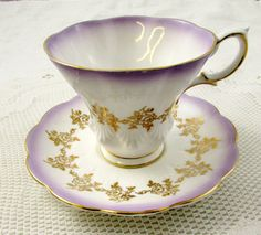 Royal Albert Purple Tea Cup and Saucer with Gold Roses, Vintage Tea Cup, English Bone China