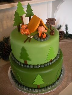 Camping themed cake.
