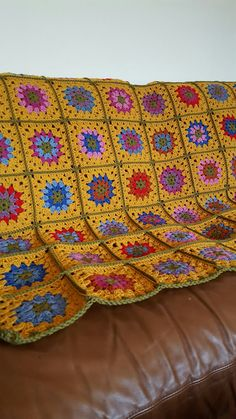 Desert Flowers Afghan Blanket GRANNY SQUARES 56 x by Thesunroomuk