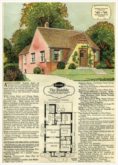 1929 Sears Brick Veneer v The Kendale ~ The traditional three bedroom one-story floorplan, but brick wrapped, instead of siding or shingles, as originally designed.