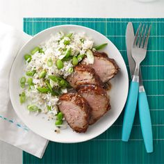Barbecue Glazed Pork with Green Rice