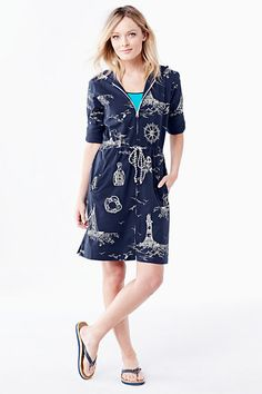 Women's Roll Sleeve Cover-up - Nautical from Lands' End