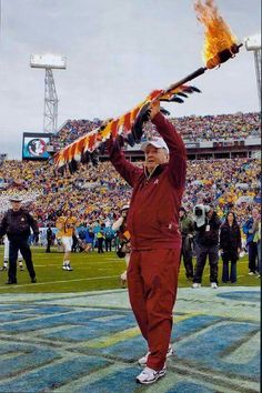Bobby Bowden with the spear