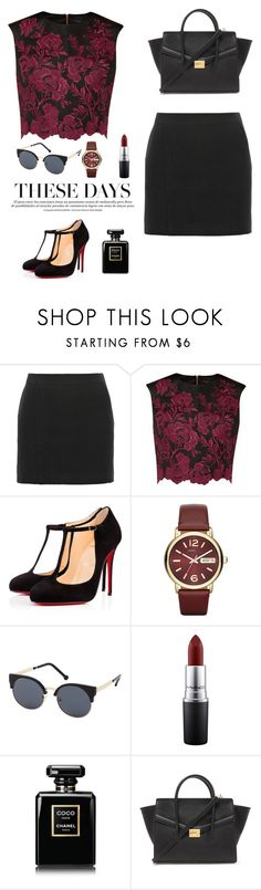 """""""Rose Velvet"""" by gimcdonnell ❤ liked on Polyvore featuring T By Alexander Wang, Ted Baker, Christian Louboutin, Marc by Marc Jacobs, Charlotte Russe, MAC Cosmetics, Chanel and Forever 21"""