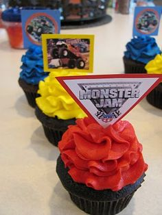 Monster Jam Cupcakes, can do these printouts from the computer and glue to card stock shapes and glue to the picks
