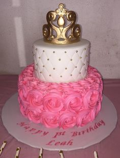 Made this Princess rosette cake with sugar paste crown and gold sugar pearls.