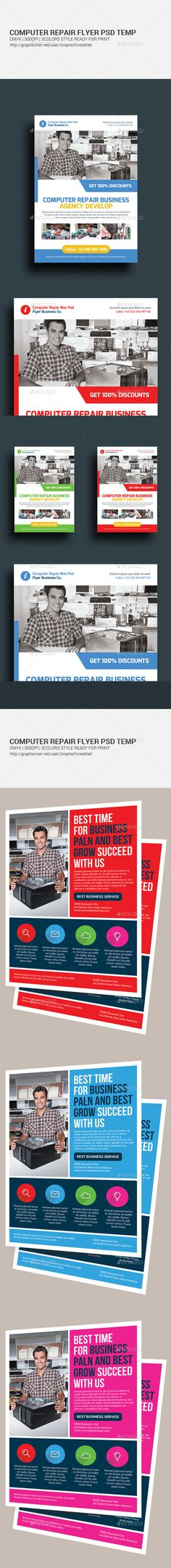 Computer Repair Flyers Bundle Template #Design Download: Http