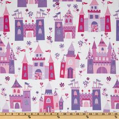 I've been trying to convince Maddie to go a bit more grown-up in the fabric patterns for her room makeover...and what does she go for?  This.  (Michael Miller: Princess Castles Pink)