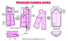 Tazado Camisa de Dama Skirt Patterns Sewing, Mccalls Patterns, Bodice Pattern, Sewing Alterations, Donia, Barbie, Pattern Drafting, Sewing Techniques, Diy Clothes