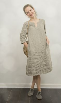 Natural Linen Tunic Dress by KnockKnockLinen on Etsy