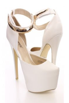 White Faux Leather Ankle Strap Platform Heels