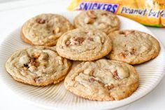 Peanut Butter Snickers Cookies-2  http://sallysbakingaddiction.com/2012/05/25/peanut-butter-snickers-cookies/#