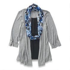 Veste-chandail avec foulard pour dames Classic Editions 16,00$ Dame, Denim, Sweaters, Jackets, Fashion, Scarf Head, Down Jackets, Moda, Fashion Styles
