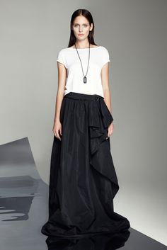 Robert Rodriquez at NY show Spring 2013...tee and long skirt in simple black & white